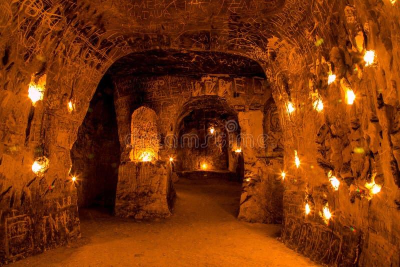 Krijtachtig ondergronds holklooster, ondergrondse kerk in Kalach, Voronezh-gebied royalty-vrije stock foto
