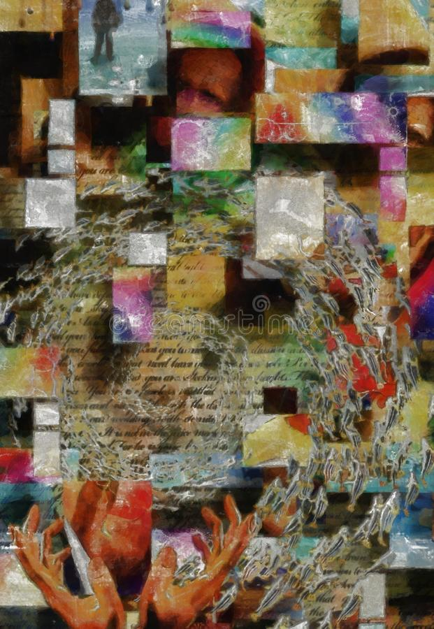 Krijtachtige Pastelkleur gelaagde samenvatting stock afbeelding