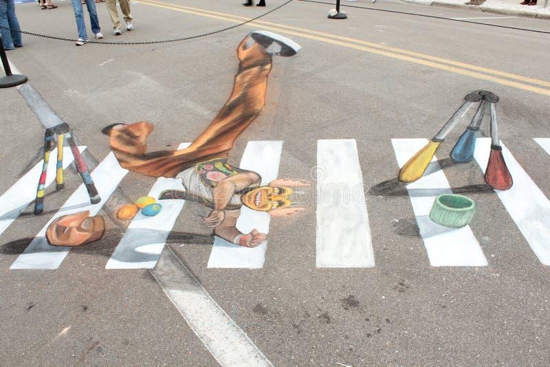 Krijtkunst van Clown In The Streets van Sarasota, FL royalty-vrije stock afbeelding