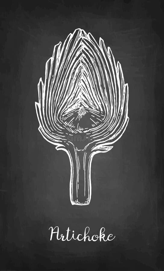 Krijtschets van gesneden artisjok stock illustratie