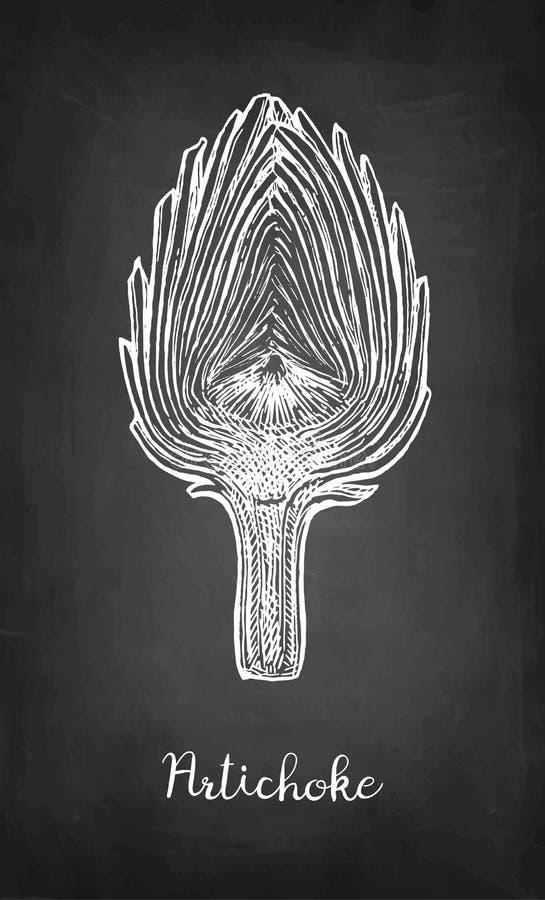 Krijtschets van gesneden artisjok vector illustratie
