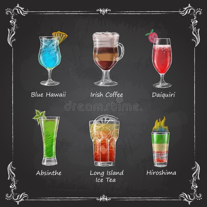 Krijttekeningen cocktailmenu stock illustratie