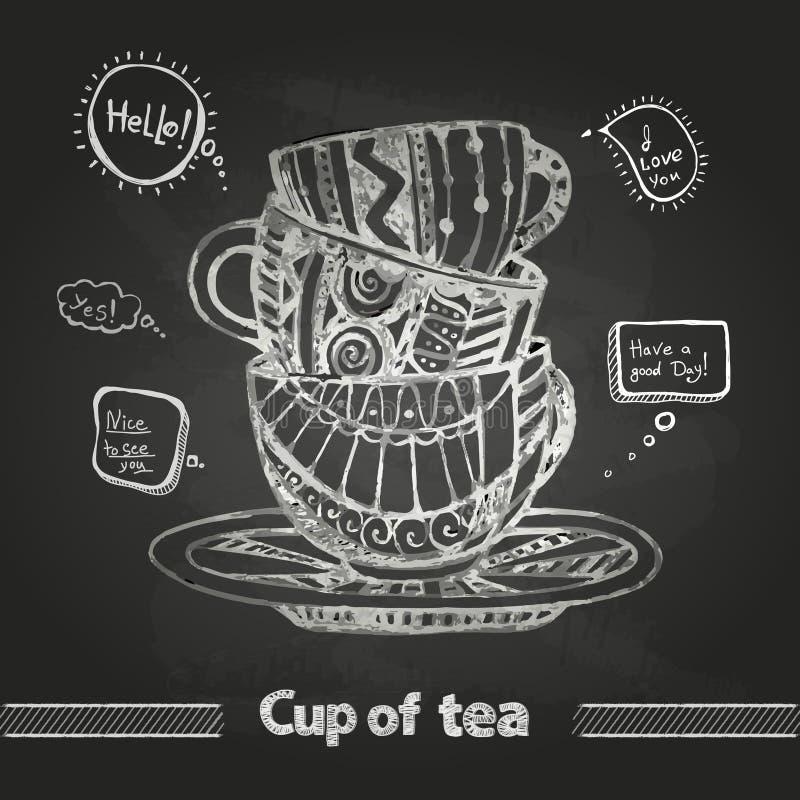 Krijttekeningen Decoratieve kop van koffie royalty-vrije illustratie