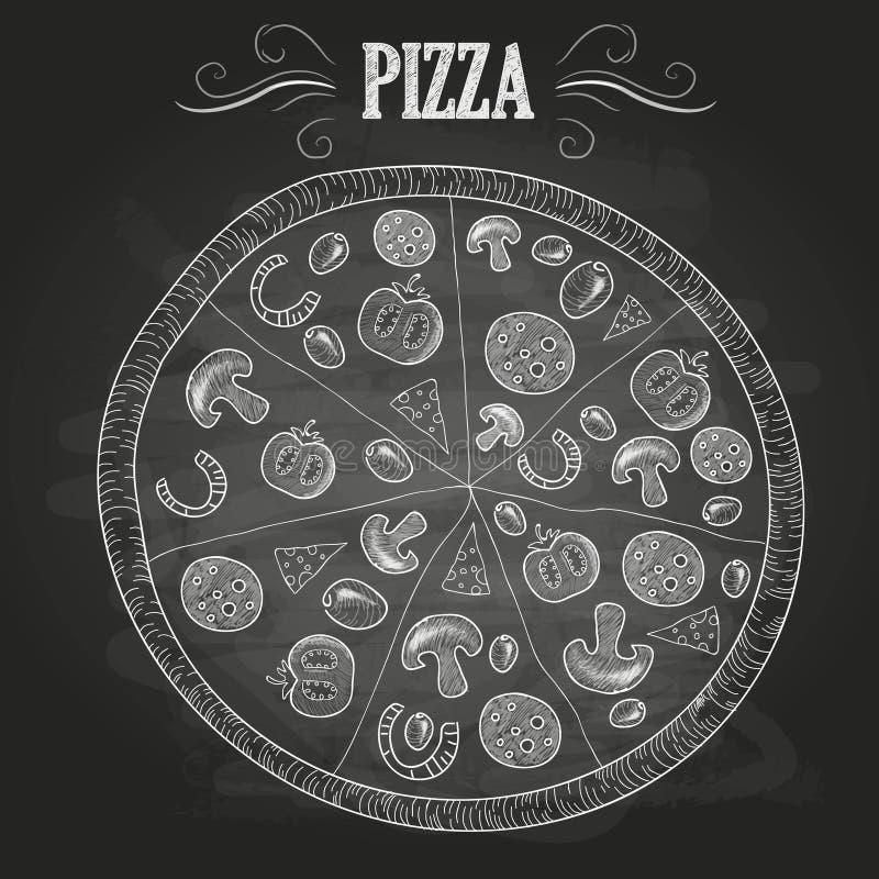 Krijttekeningen Pizza stock illustratie