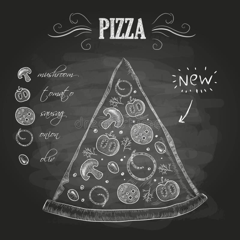 Krijttekeningen Pizza royalty-vrije illustratie
