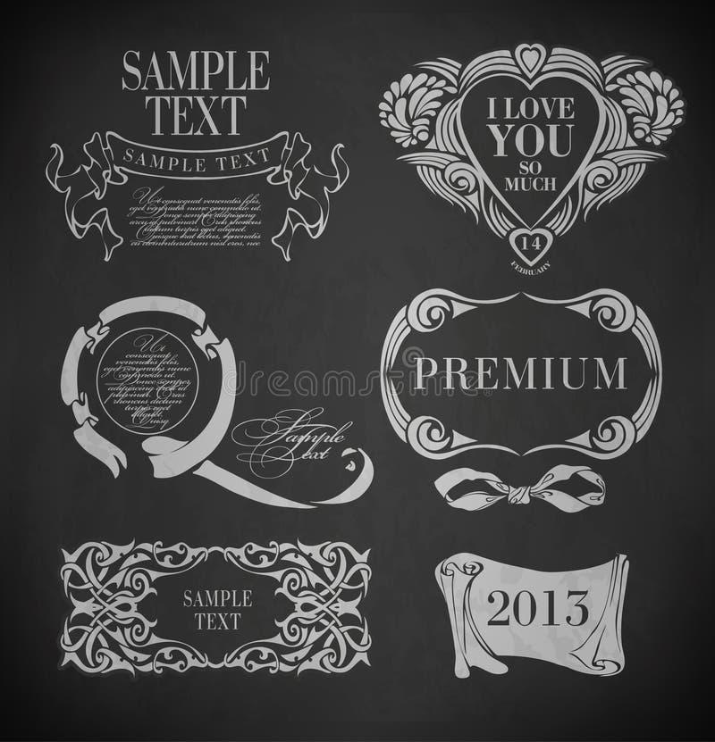 Krijttypografie, kalligrafische ontwerpelementen royalty-vrije illustratie