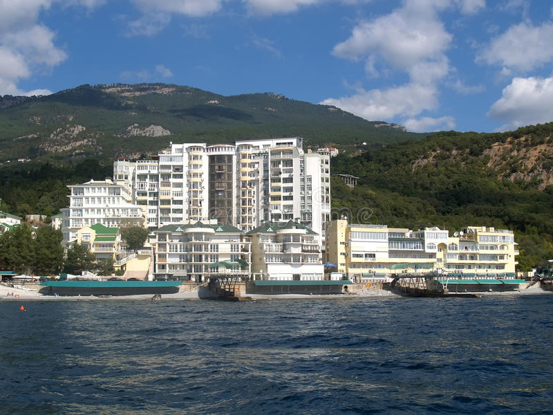 krim Hotel auf der Schwarzmeerküste nahe Jalta stockbild