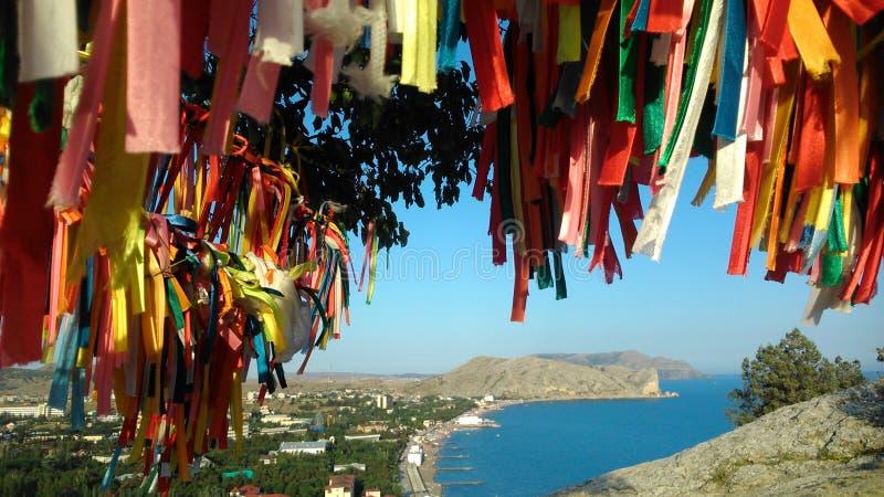 Krim, Sudak, Ansicht der Bucht stockfoto