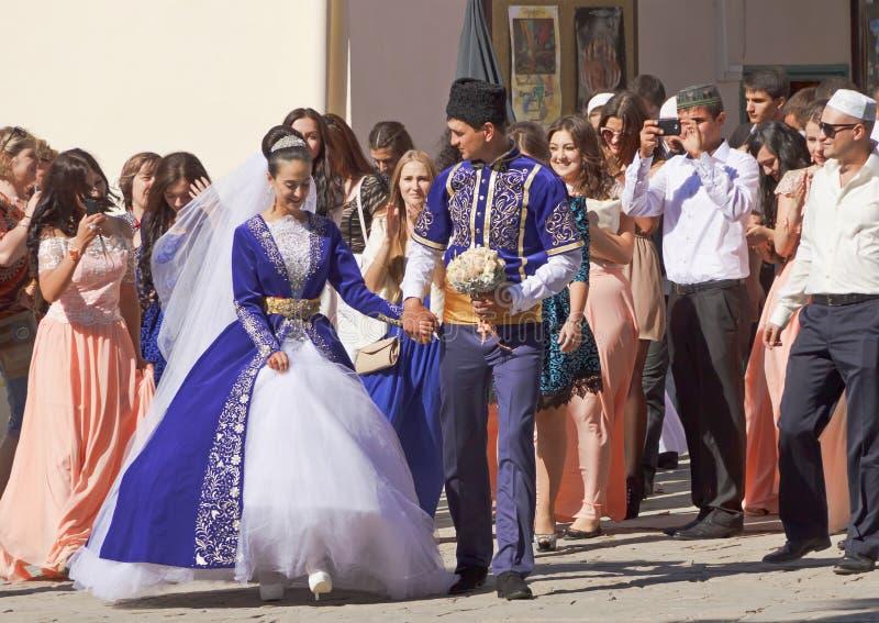 Krim Tatar huwelijk in het Khans-Paleis Bakhchisarai royalty-vrije stock foto's