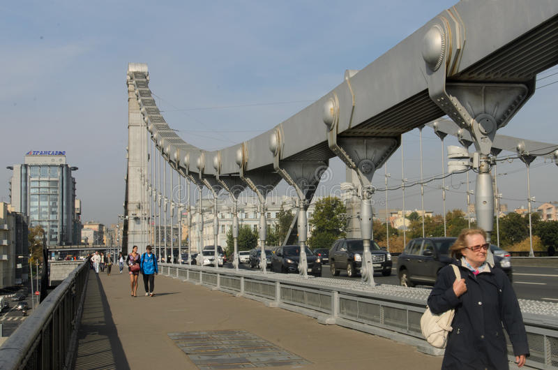 Krimbrücke, Moskau, Russland stockfotografie