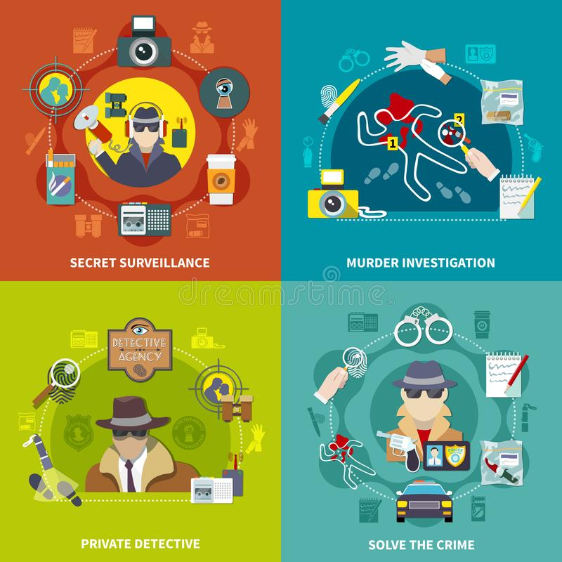 Kriminalare Concept Set vektor illustrationer