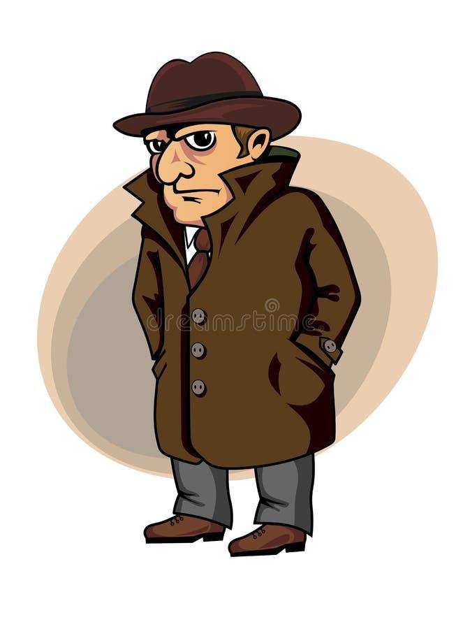 Kriminalare eller spion stock illustrationer