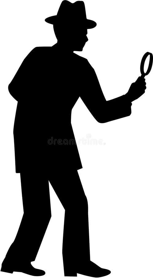 kriminalare Man med förstoringsglaskonturn vektor illustrationer