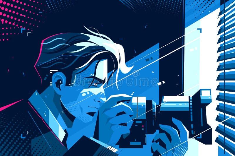 Kriminalare med photocamera stock illustrationer