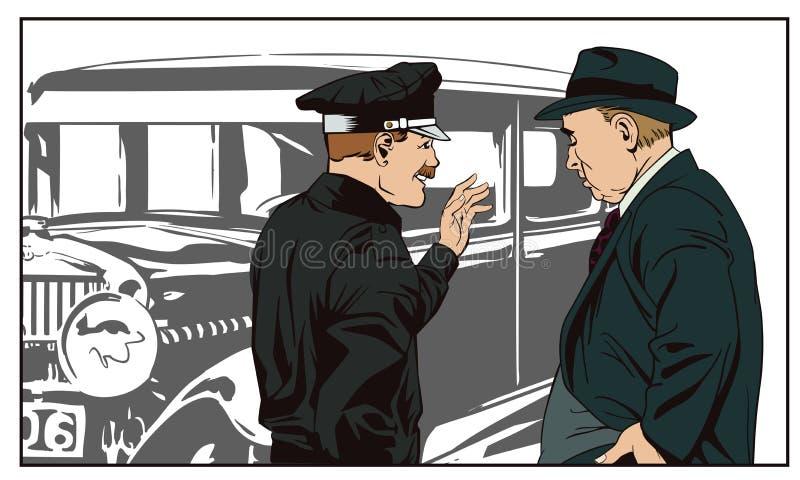 Kriminalare och polis nära en antik bil för illustrationorange för bakgrund ljust materiel vektor illustrationer