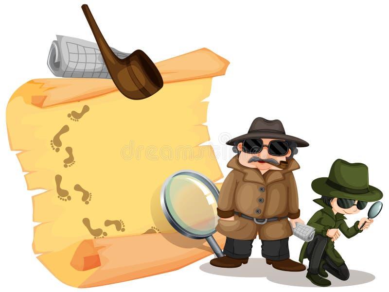 Kriminalare som söker efter ledtrådar royaltyfri illustrationer