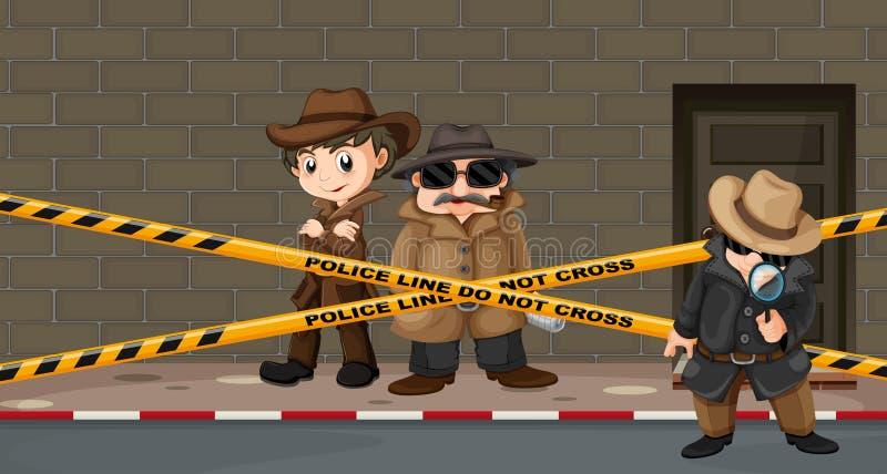 Kriminalare som söker efter ledtrådar på brottsplatsen stock illustrationer