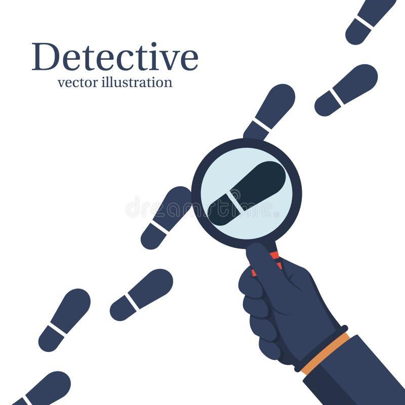 Kriminalaren utforskar Mänskligt i handskar rymmer ett förstorande G royaltyfri illustrationer