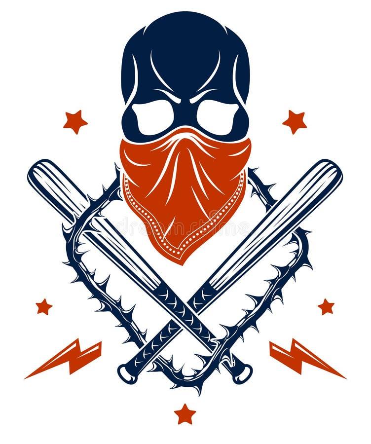Kriminelle Tätowierung, Gruppenemblem oder Logo mit aggressiven SchädelBaseballschlägern und andere Waffen und Gestaltungselement stock abbildung