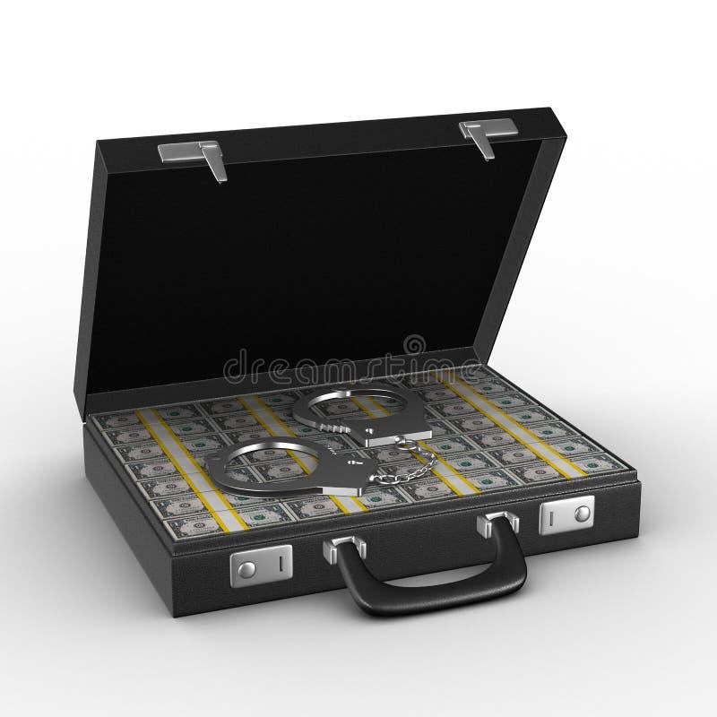 Kriminelles Geld im Koffer stock abbildung