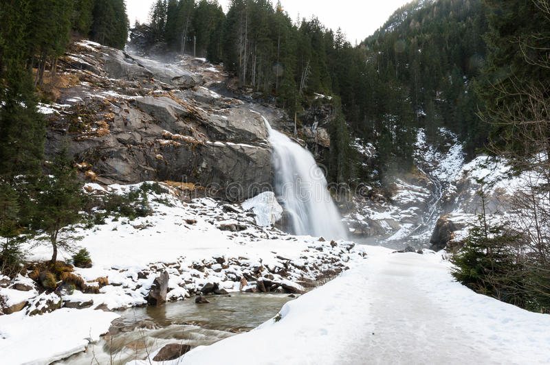 Krimml waterfall. View of Krimml waterfall in the winter in the Austrian Alps royalty free stock images