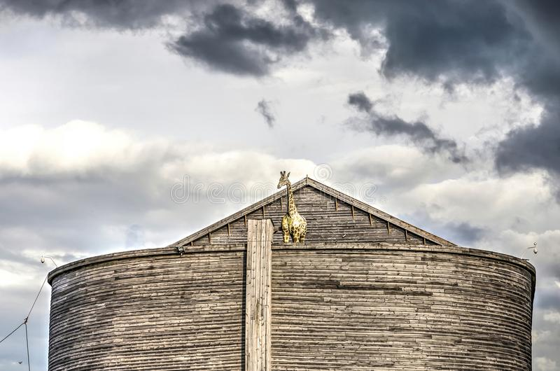 Dark clouds over Noah`s Ark stock image