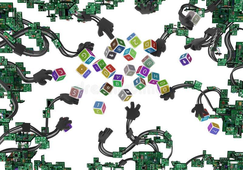 Kringen Getelegrafeerde Wapens Toy Cubes stock illustratie