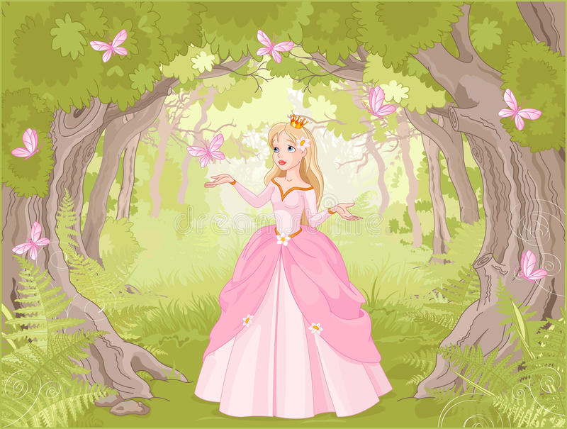 Kringresande prinsessa i det fantastiska trät royaltyfri illustrationer