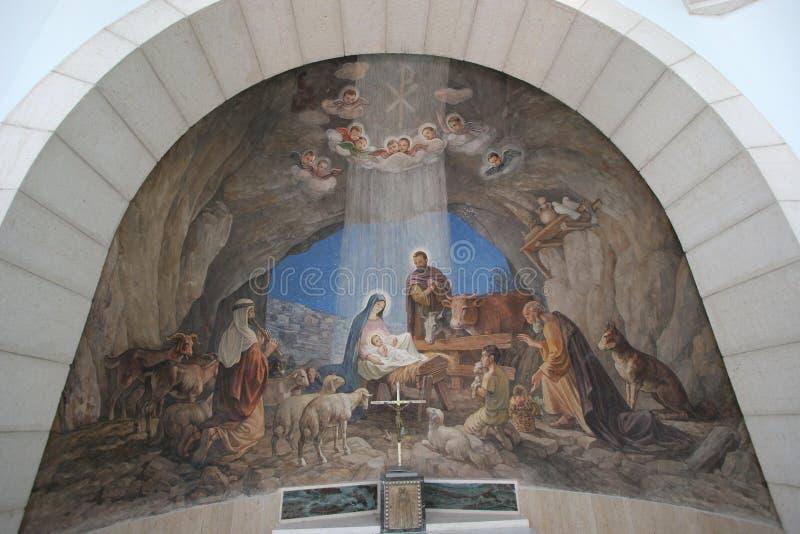 Krippe, Bethlehem-Schäfer-Feld-Kirche stockfotografie