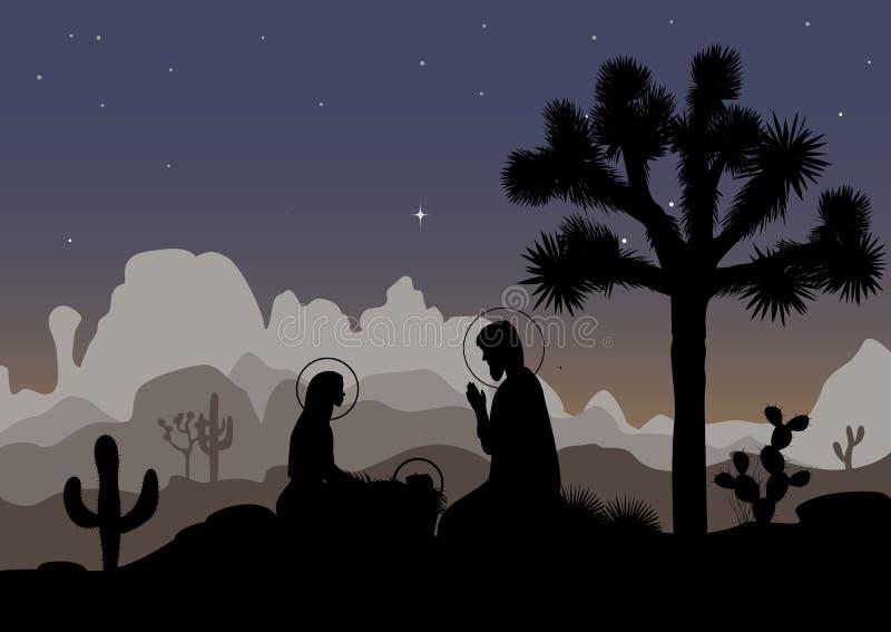 Krippe und mexikanische Nachtlandschaft Heiligfamilie, Joshua-Baum, Kaktus und Berge Auch im corel abgehobenen Betrag vektor abbildung