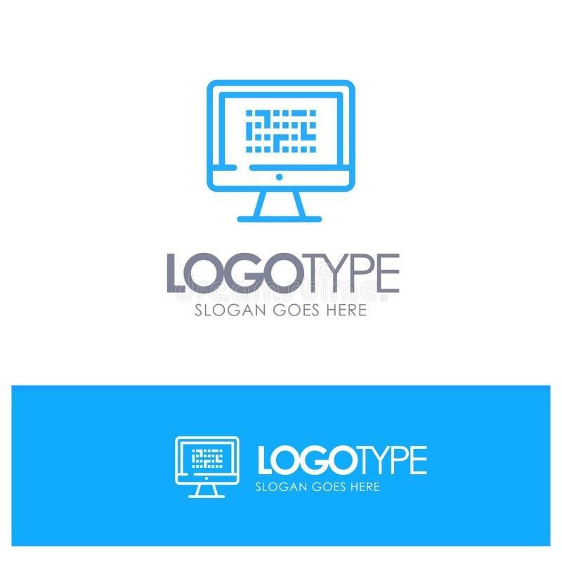 Kriptographie, Daten, Ddos, Verschlüsselung, Informationen, Problem-blauer Entwurf Logo Place für Tagline lizenzfreie abbildung