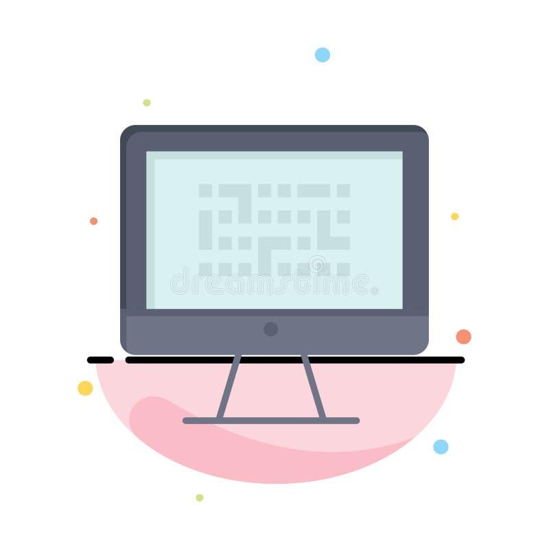Kriptographie, Daten, Ddos, Verschlüsselung, Informationen, Problem-Zusammenfassungs-flache Farbikonen-Schablone lizenzfreie abbildung