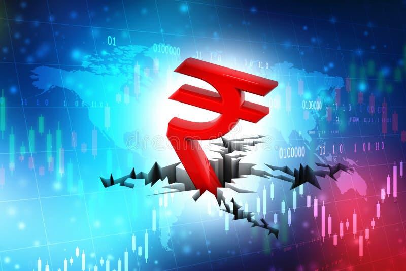 Krisbegrepp f?r indisk rupie, r?tt symbol f?r indisk rupie ner till jordning royaltyfri illustrationer