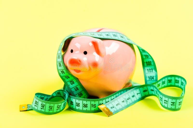 krise Wirtschafts- und Budgetzunahme Sparschwein mit Maßband moneybox schlechte Bezahlung Stecken eines Geldes in eine piggy Quer stockbild