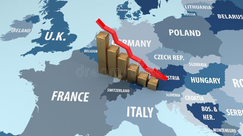 Krisen av den europeiska unionen Nedgången i inkomst av den europeiska unionen illustration 3d vektor illustrationer