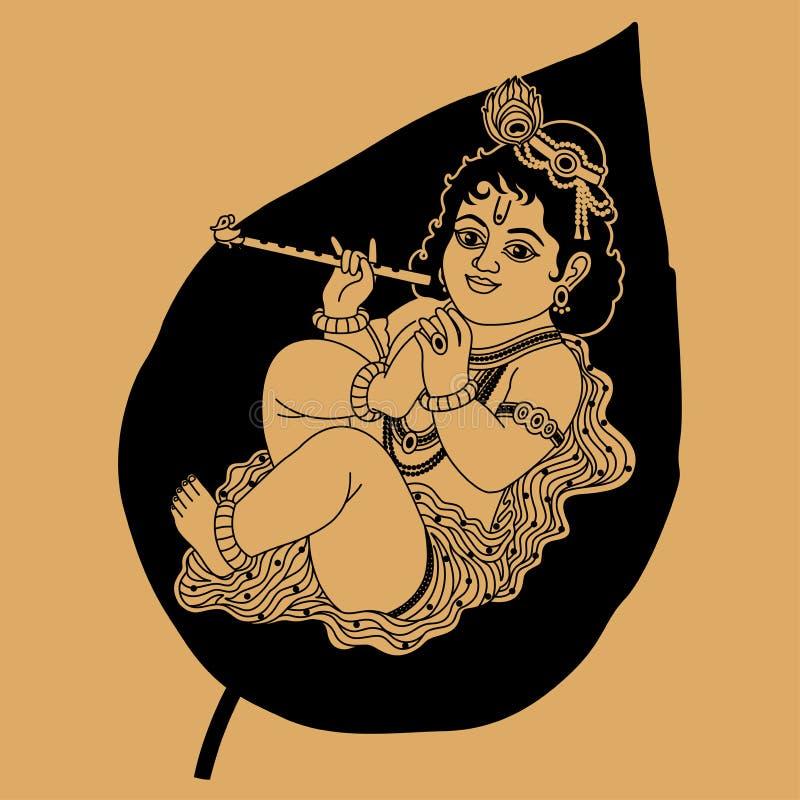 Krishna é um pequeno ilustração stock