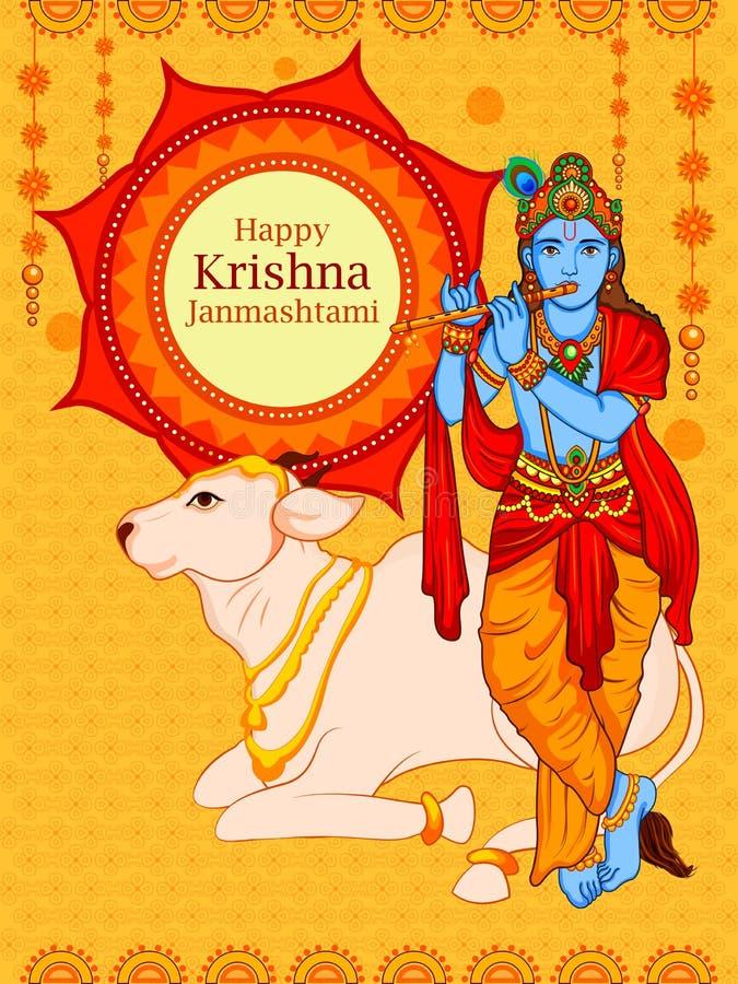 Krishna με το φλάουτο στο ευτυχές υπόβαθρο Janmashtami απεικόνιση αποθεμάτων