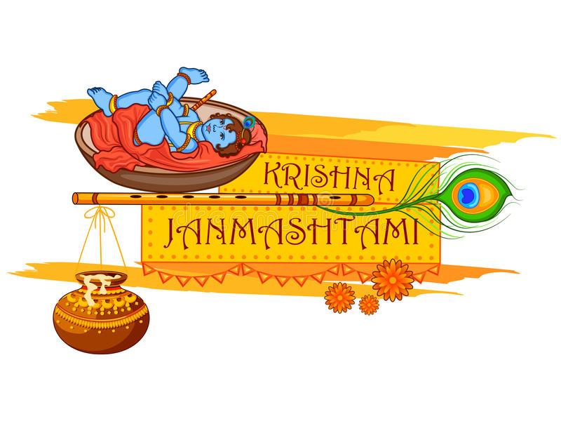 Krishna με το φλάουτο στο ευτυχές υπόβαθρο Janmashtami ελεύθερη απεικόνιση δικαιώματος