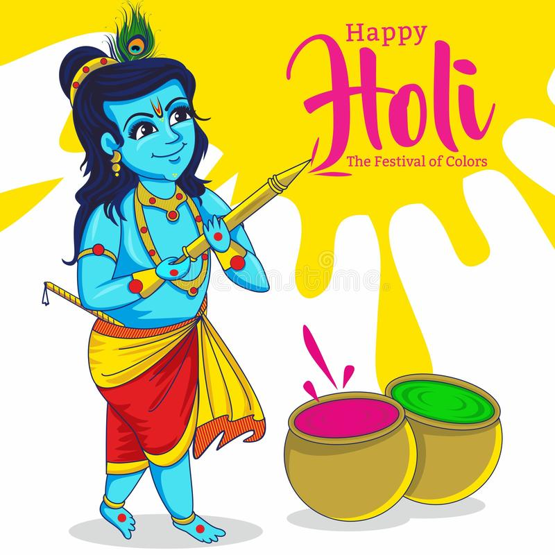 krishna che gioca HOL Celebrazione di Holi illustrazione vettoriale