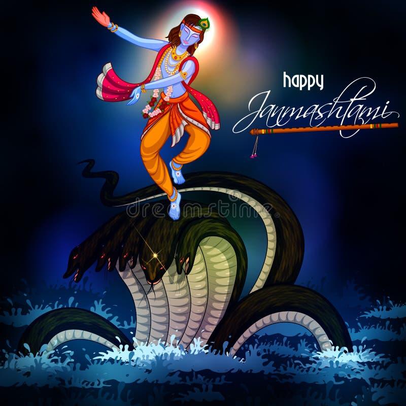 Krishna dans på den Kaliya ormen på lycklig Janmashtami festivalbakgrund av Indien royaltyfri illustrationer