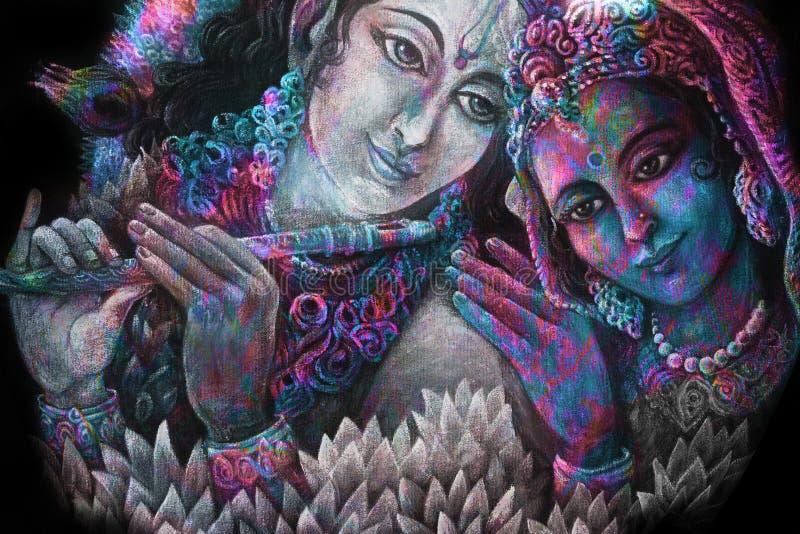 Krishna delle coppie e togerher divini di radha, illustrazione di verniciatura illustrazione vettoriale