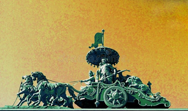 Krishna en Arjuna in Bhagavad Gita War Chariot royalty-vrije stock afbeelding