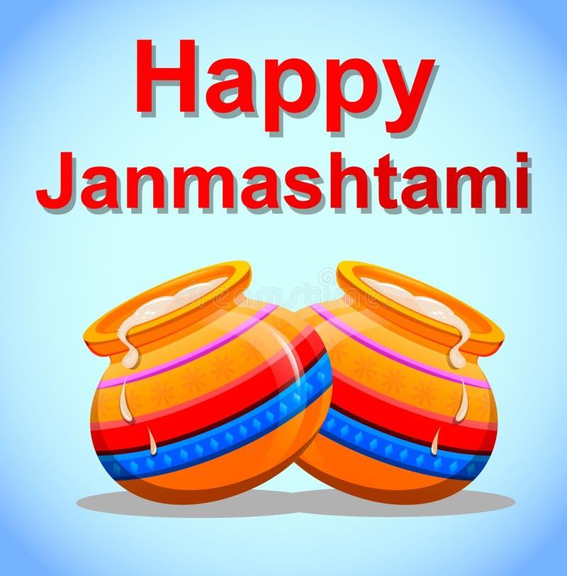 Krishna Janmashtami felice Cartolina di saluto illustrazione di stock