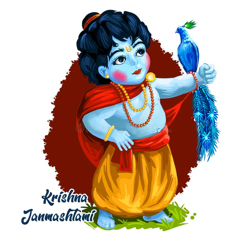 Krishna Janmashtami or Gokulashtami and peacock bird on hand isolated young hindu god. Birth of Krishna festival, eighth avatar of stock illustration