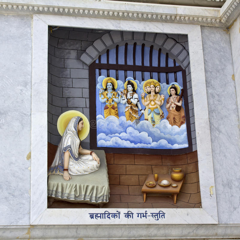 Krishna-lila. MARCH 2, 2014, VRINDAVAN, UTTAR-PRADESH, INDIA - Image describes the hily pastimes of Lord Krishna or Krishna-lila on the wall of Prem Mandir or royalty free stock images