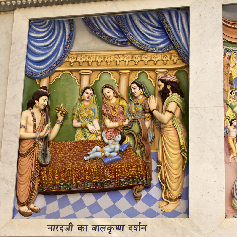 Krishna-lila. MARCH 2, 2014, VRINDAVAN, UTTAR-PRADESH, INDIA - Image describes the hily pastimes of Lord Krishna or Krishna-lila on the wall of Prem Mandir or royalty free stock photography