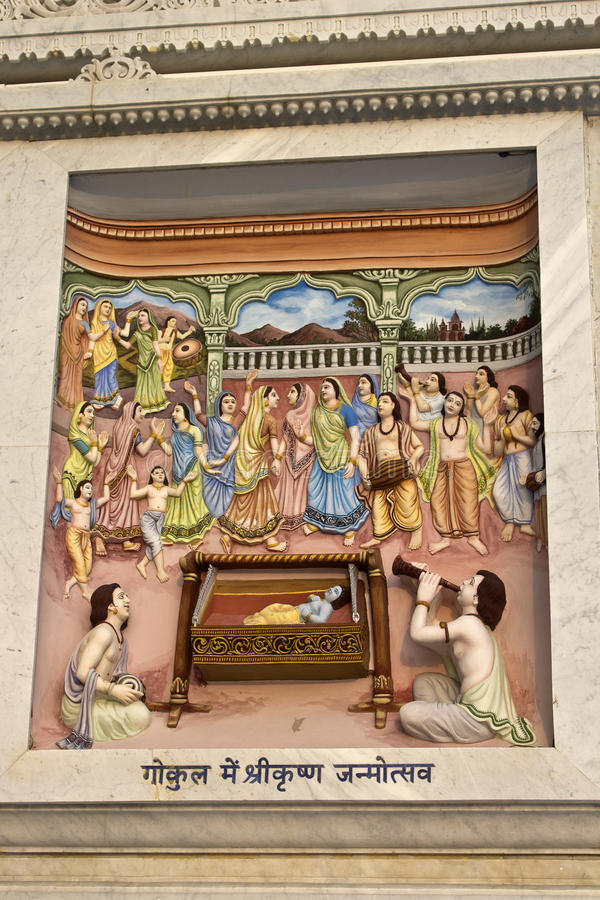 Krishna-lila. MARCH 2, 2014, VRINDAVAN, UTTAR-PRADESH, INDIA - Image describes the hily pastimes of Lord Krishna or Krishna-lila on the wall of Prem Mandir or royalty free stock photos