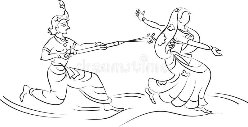 Krishna Playing Holi With Gopi Stock Vector - Illustration Of Drop Clipart 43816634