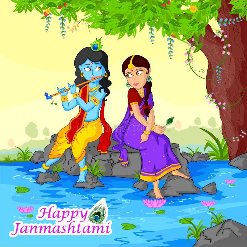 Krishna que joga a flauta com o Radha no fundo de Janmashtami ilustração stock