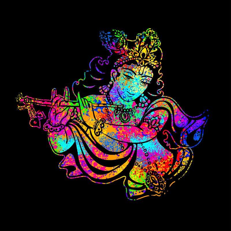 Krishna que joga a flauta em um fundo psicadélico ilustração stock